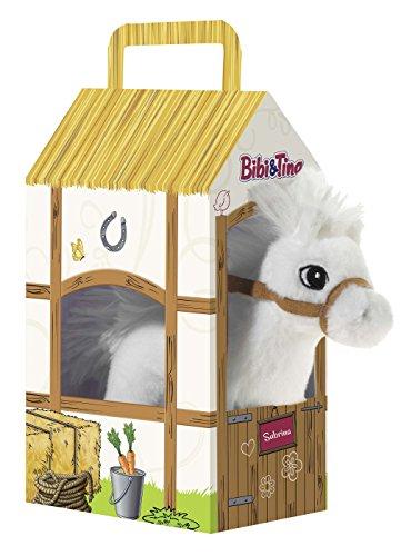 Bibi & Tina 636873 636873-Pferd Sabrina stehend im Stall Plüschtier, weiß -