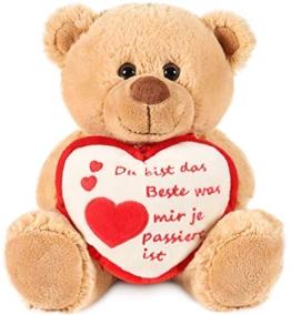 Brubaker Teddy Plüschbär mit Herz Rot Beige - Du bist das Beste was Mir je passiert ist - 25 cm - Teddybär Plüschteddy Kuscheltier Schmusetier - Braun Hellbraun - 1
