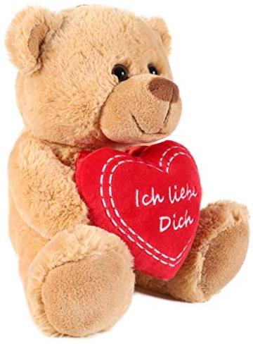 Brubaker Teddy Plüschbär mit Herz Rot - Ich Liebe Dich - 25 cm - Teddybär Plüschteddy Kuscheltier Schmusetier - Braun Hellbraun - 2
