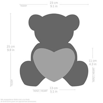 Brubaker Teddy Plüschbär mit Herz Rot - Ich Liebe Dich - 25 cm - Teddybär Plüschteddy Kuscheltier Schmusetier - Braun Hellbraun - 4
