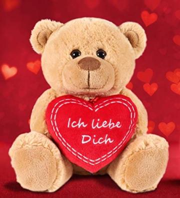 Brubaker Teddy Plüschbär mit Herz Rot - Ich Liebe Dich - 25 cm - Teddybär Plüschteddy Kuscheltier Schmusetier - Braun Hellbraun - 5