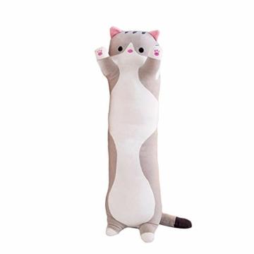 Decdeal Stofftiere Katzen Kissen Kätzchen süße Plüschtier Hautfreundlich ungiftig elastisch es kann Plüschtier Wurfkissen - 1