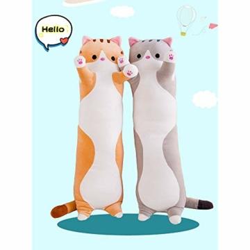Decdeal Stofftiere Katzen Kissen Kätzchen süße Plüschtier Hautfreundlich ungiftig elastisch es kann Plüschtier Wurfkissen - 6