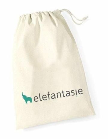 Elefantasie Stofftier Hase mit großen Füßchen mit Namen und Geburtsdatum personalisiert Geschenk beige orange 31cm - 2