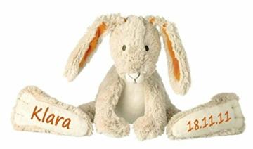 Elefantasie Stofftier Hase mit großen Füßchen mit Namen und Geburtsdatum personalisiert Geschenk beige orange 31cm - 1