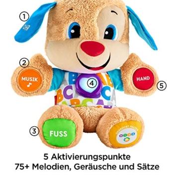 Fisher-Price FPM50 - Lernspaß Hündchen Baby Spielzeug und Plüschtier, Lernspielzeug mit Liedern und Sätzen, mitwachsende Spielstufen, Spielzeug ab 6 Monaten, deutschsprachig - 2