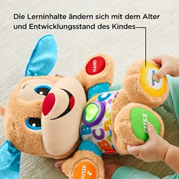 Fisher-Price FPM50 - Lernspaß Hündchen Baby Spielzeug und Plüschtier, Lernspielzeug mit Liedern und Sätzen, mitwachsende Spielstufen, Spielzeug ab 6 Monaten, deutschsprachig - 5