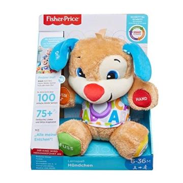 Fisher-Price FPM50 - Lernspaß Hündchen Baby Spielzeug und Plüschtier, Lernspielzeug mit Liedern und Sätzen, mitwachsende Spielstufen, Spielzeug ab 6 Monaten, deutschsprachig - 7