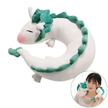GXFLO Anime Cute White Dragon Nackenkissen U-Förmigen Travel Pillow-Puppe Plüschtier White Dragon Nackenkissen, Weichem Plüsch Drache Gefüllte Puppe - 2