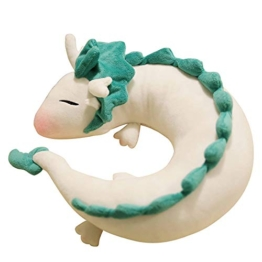GXFLO Anime Cute White Dragon Nackenkissen U-Förmigen Travel Pillow-Puppe Plüschtier White Dragon Nackenkissen, Weichem Plüsch Drache Gefüllte Puppe - 1