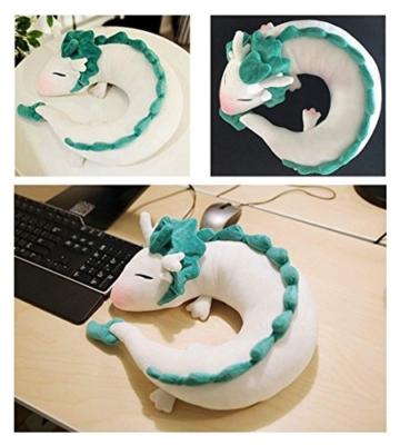 GXFLO Anime Cute White Dragon Nackenkissen U-Förmigen Travel Pillow-Puppe Plüschtier White Dragon Nackenkissen, Weichem Plüsch Drache Gefüllte Puppe - 4