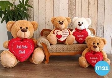 matches21 Teddy Teddybär Plüschbär mit rotem Herz Ich Liebe Dich 35 cm Plüschteddy Kuscheltier Schmusetier braun beige Hellbraun - 2