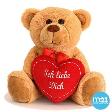 matches21 Teddy Teddybär Plüschbär mit rotem Herz Ich Liebe Dich 35 cm Plüschteddy Kuscheltier Schmusetier braun beige Hellbraun - 3