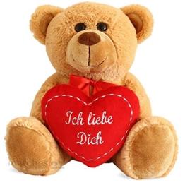 matches21 Teddy Teddybär Plüschbär mit rotem Herz Ich Liebe Dich 35 cm Plüschteddy Kuscheltier Schmusetier braun beige Hellbraun - 1