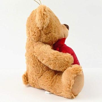 matches21 Teddy Teddybär Plüschbär mit rotem Herz Ich Liebe Dich 35 cm Plüschteddy Kuscheltier Schmusetier braun beige Hellbraun - 4