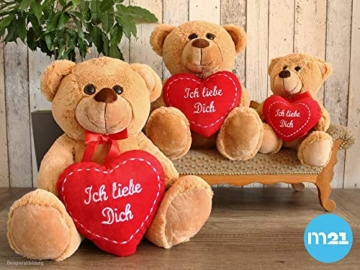 matches21 Teddy Teddybär Plüschbär mit rotem Herz Ich Liebe Dich 35 cm Plüschteddy Kuscheltier Schmusetier braun beige Hellbraun - 8