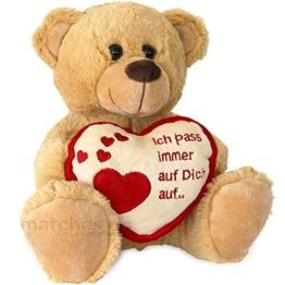 matches21 Teddybär Herz Teddy Ich Pass Immer Auf Dich Auf Hellbraun / beige 25 cm Geschenk Klassiker Partner Freundin Valentinstag - 1