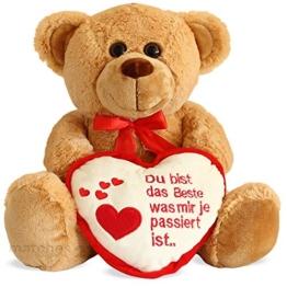 matches21 Teddybär Teddy mit Herz DU BIST DAS Beste Hellbraun / beige 35 cm Geschenk Klassiker Partner Freundin Valentinstag - 1
