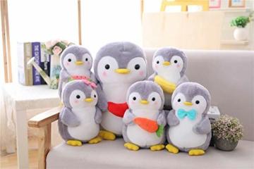 Nicole Knupfer Pinguin Stofftier Plüschtier, Pinguin Kuscheltier Tier Kissen Geschenk Für Kinder/Erwachsene (Pinguin mit Schleife,25 cm) - 2