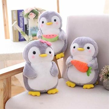 Nicole Knupfer Pinguin Stofftier Plüschtier, Pinguin Kuscheltier Tier Kissen Geschenk Für Kinder/Erwachsene (Pinguin mit Schleife,25 cm) - 4