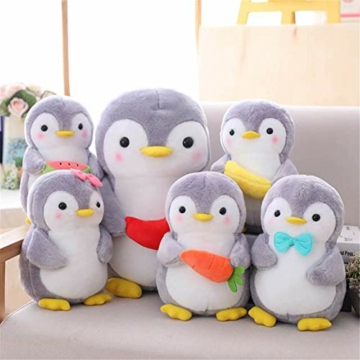 Nicole Knupfer Pinguin Stofftier Plüschtier, Pinguin Kuscheltier Tier Kissen Geschenk Für Kinder/Erwachsene (Pinguin mit Schleife,25 cm) - 5