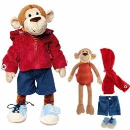 Sigikid 40989 - Mädchen und Jungen, Stofftier Lern-Affe, Spielerisch An Ausziehen lernen, rot/dunkelblau - 1