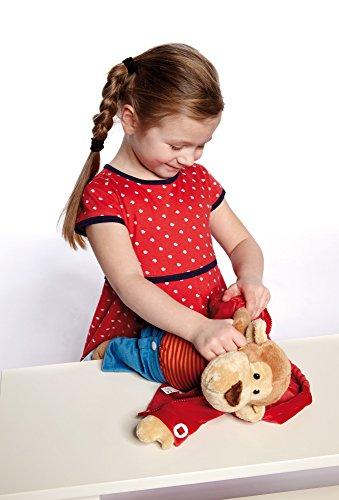 Sigikid 40989 - Mädchen und Jungen, Stofftier Lern-Affe, Spielerisch An Ausziehen lernen, rot/dunkelblau - 4