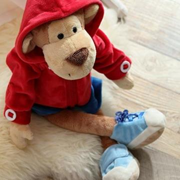 Sigikid 40989 - Mädchen und Jungen, Stofftier Lern-Affe, Spielerisch An Ausziehen lernen, rot/dunkelblau - 8