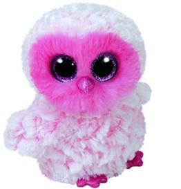 TY 36858 Twiggy, Eule pink/weiß 42cm, mit Glitzeraugen, Glubschi's, Beanie Boo's - 1