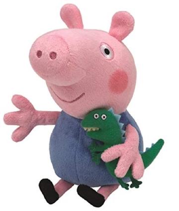 TY 7146130 - Peppa Baby - George, Schwein mit kleinem Dinosaurier, 15 cm - 1