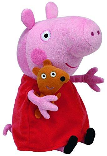 TY 7196230 – Peppa Large – Schwein mit rotem Kleid und Bär, 25 cm -