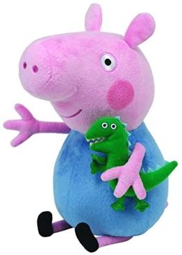 TY 7196231 - Peppa Large - George, Schwein mit kleinem Dinosaurier, 25 cm - 1